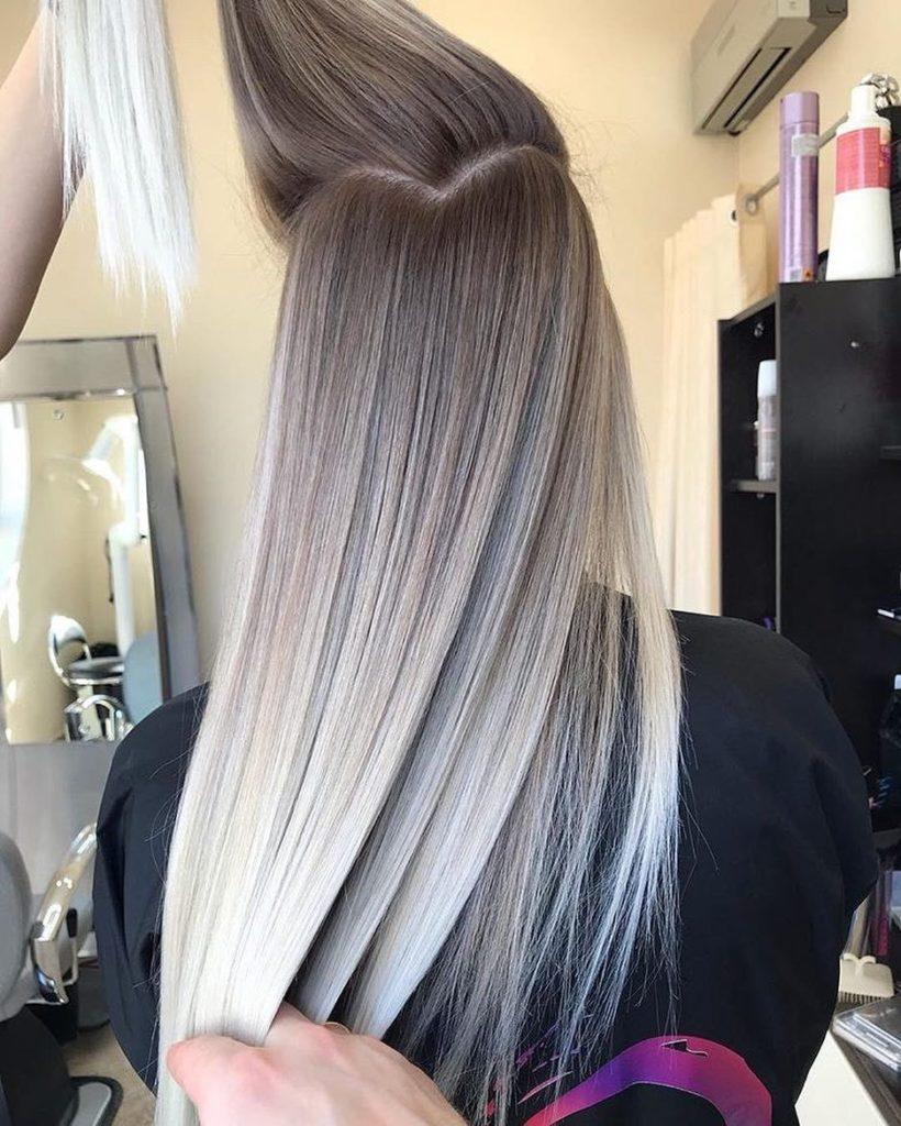 Long Balayage Hairstyles trends 2020white gray balayage 1