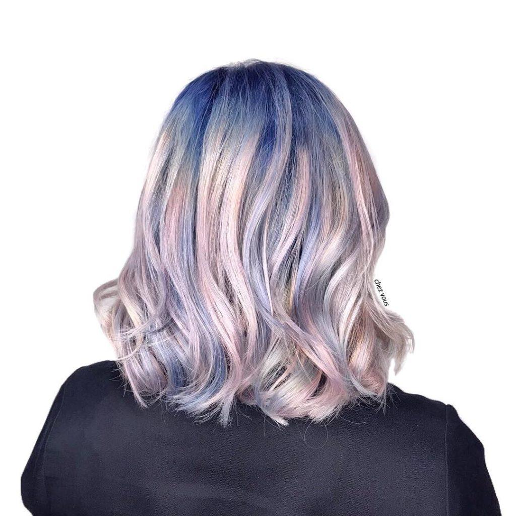 Long Bob Haircutstrends 2020 Gray Light Pink Balayage Color Wavy Hair 2