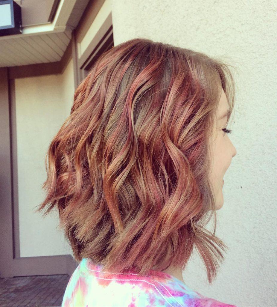 Long Bob Haircutstrends 2020 wavy layered red hair 1