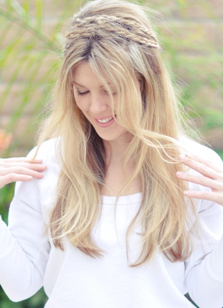 Long braided hairstyles trends 2020 Half Up Waterfall Braid Platinum blonde color