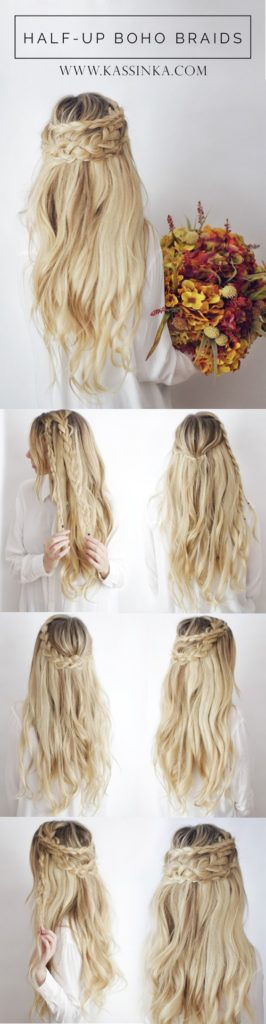 Long braided hairstyles trends 2020 Half Up and Waterfall Braid.