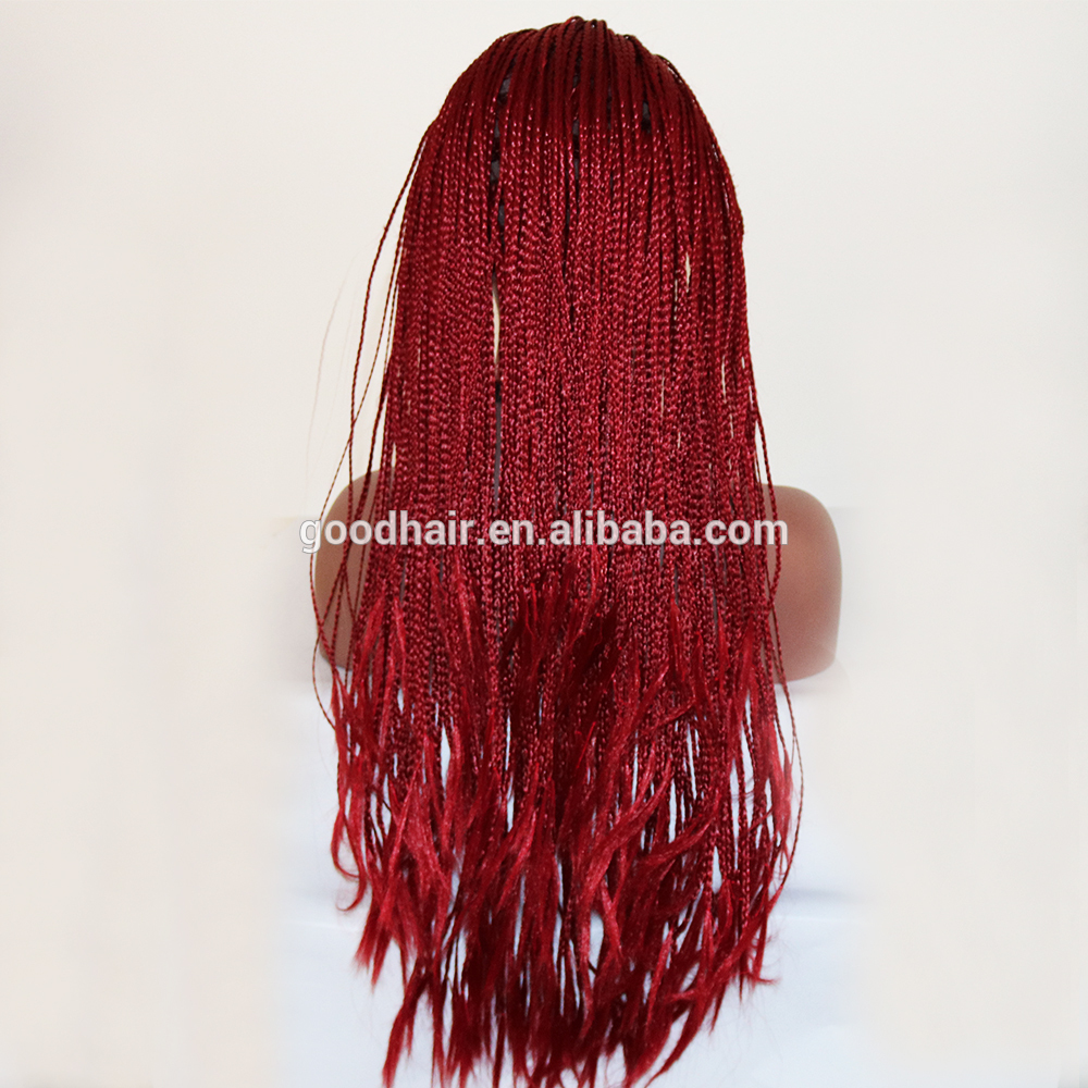 Long braided hairstyles trends 2020 Red color canerows braids