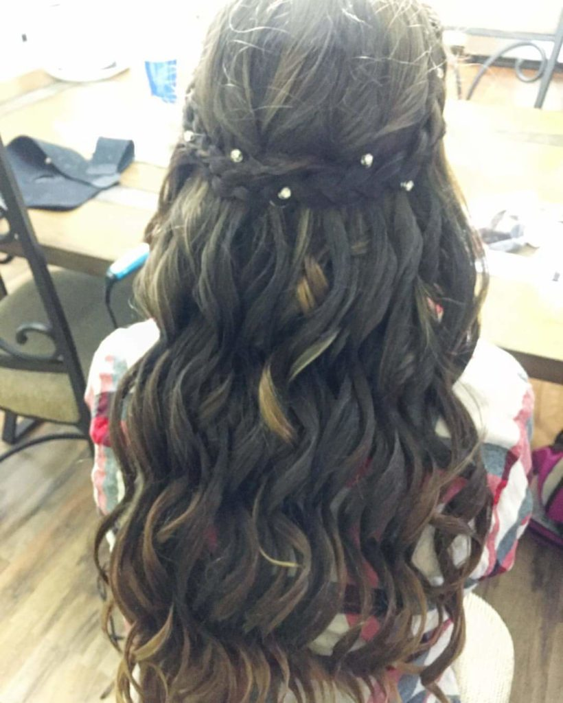 Long braided hairstyles trends 2020 brunette Half Up Waterfall Braid.