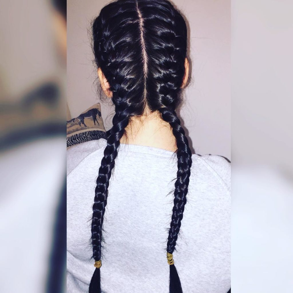 Long braided hairstyles trends 2020 double Inside Out Fishtail Braid.