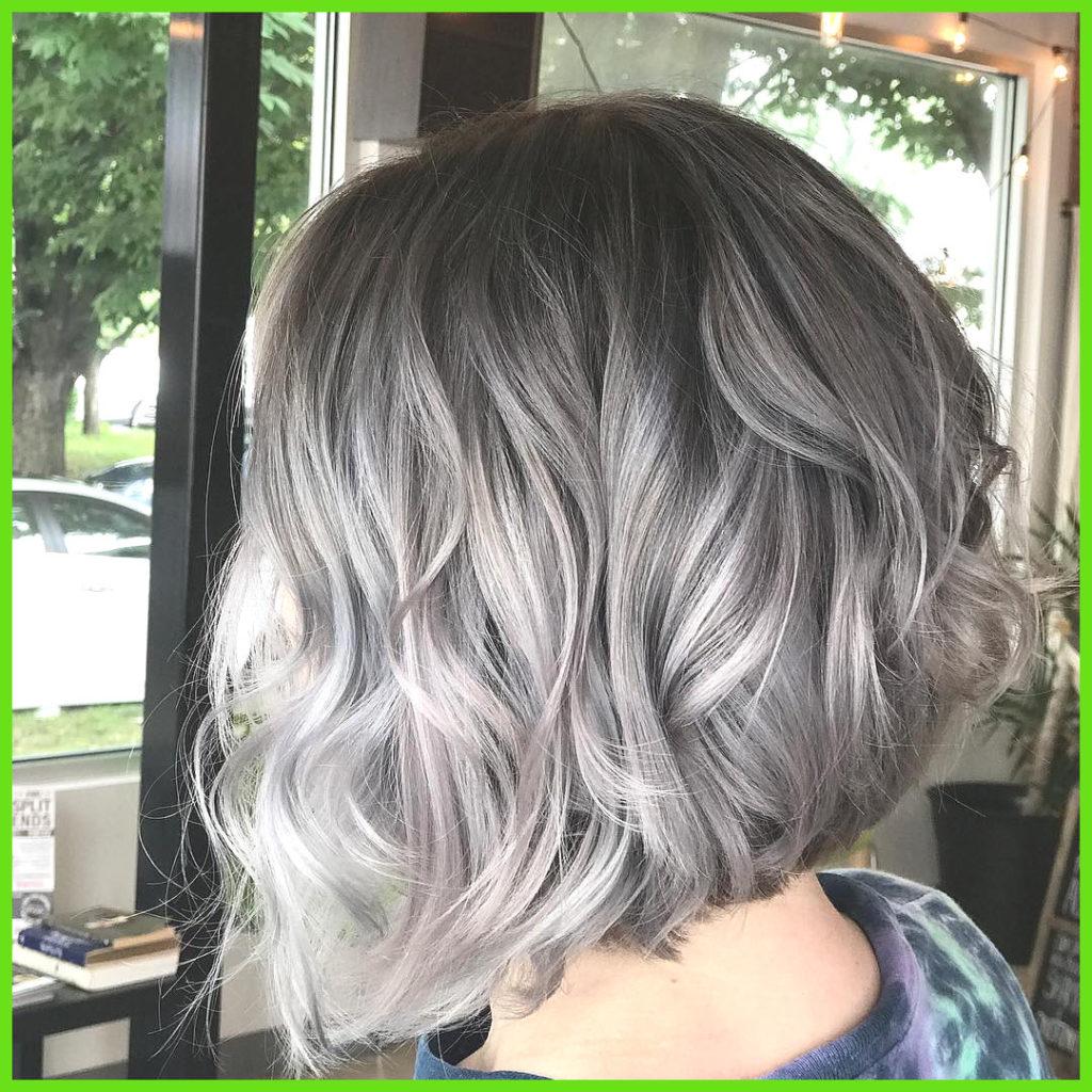 Medium Balayage Hairstyles trends 2020 Gray highlights square cut