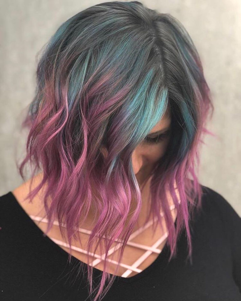 Medium Balayage Hairstyles trends 2020 blue and pink highlights