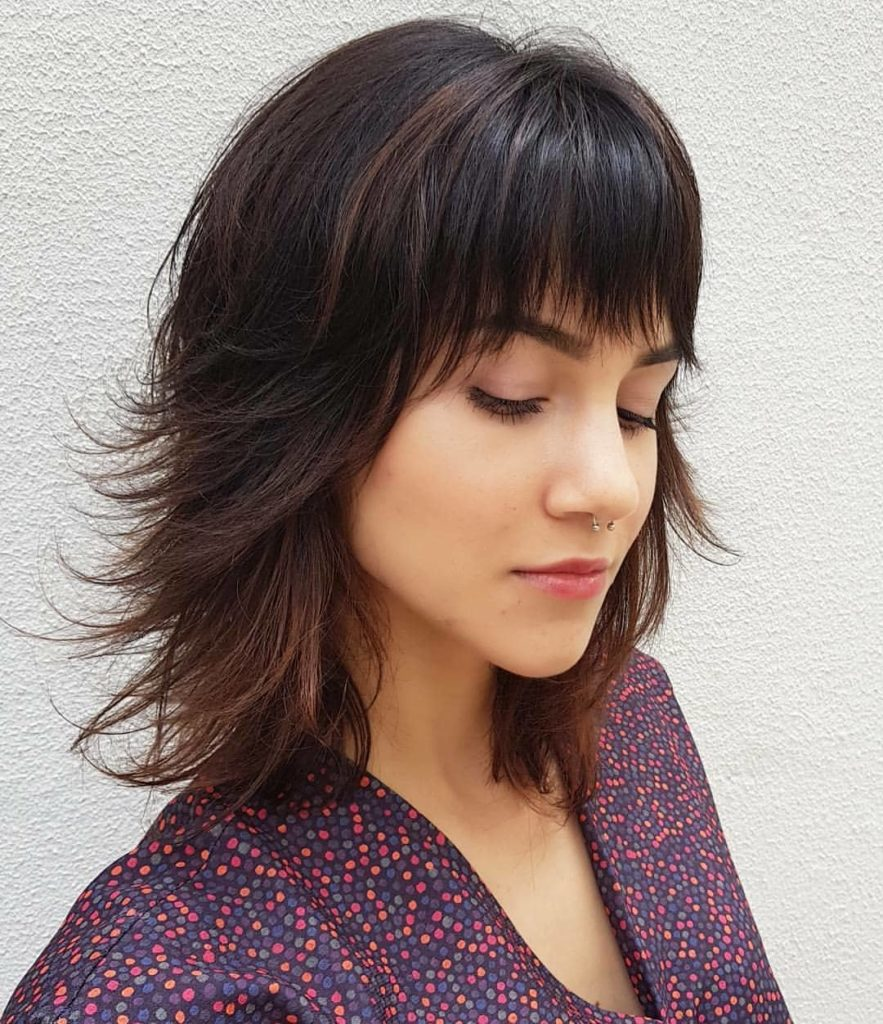 Medium Teens Haircuts trends 2020 brown color with bangs 4