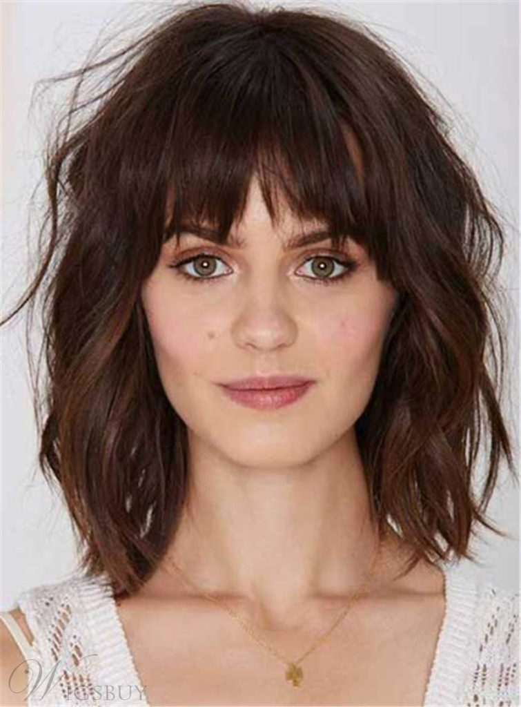 Medium Teens Haircuts trends 2020 messy brunette with bangs 4