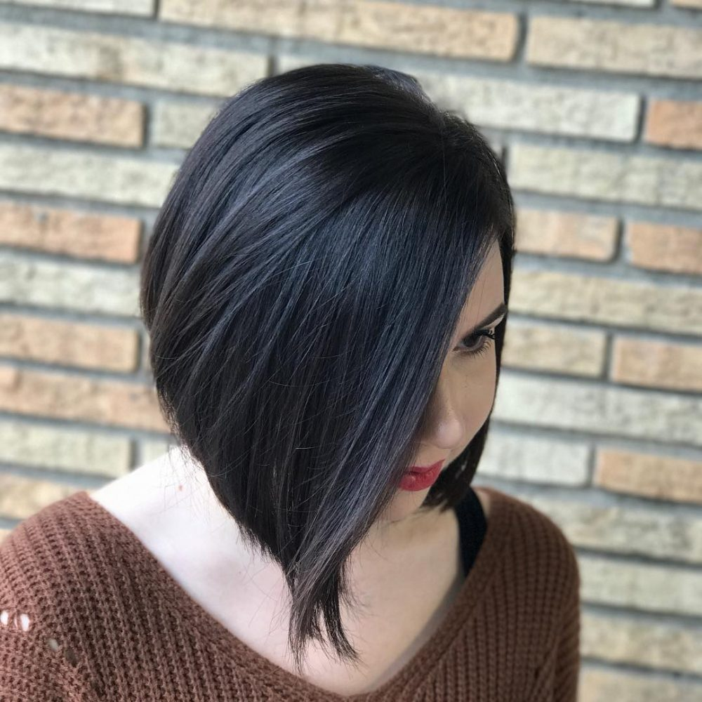 Medium Black haircut for square face Straight Hair