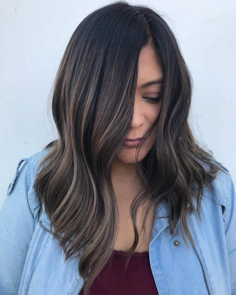 Medium haircut for square face Brown Wavy hair