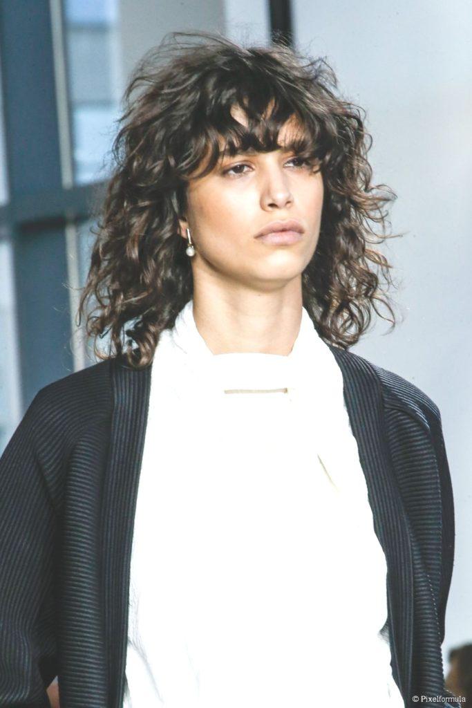 Curly Brunette Bangs