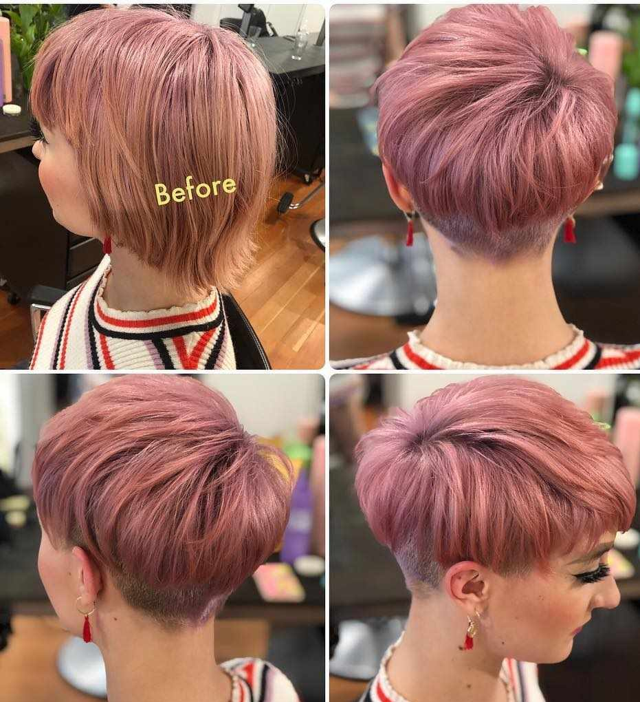 Short Bob Haircuts trends 2020 Pink straight 3