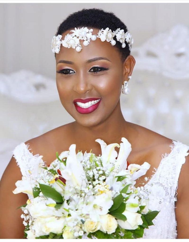Short wedding hairstyle with flowers crown