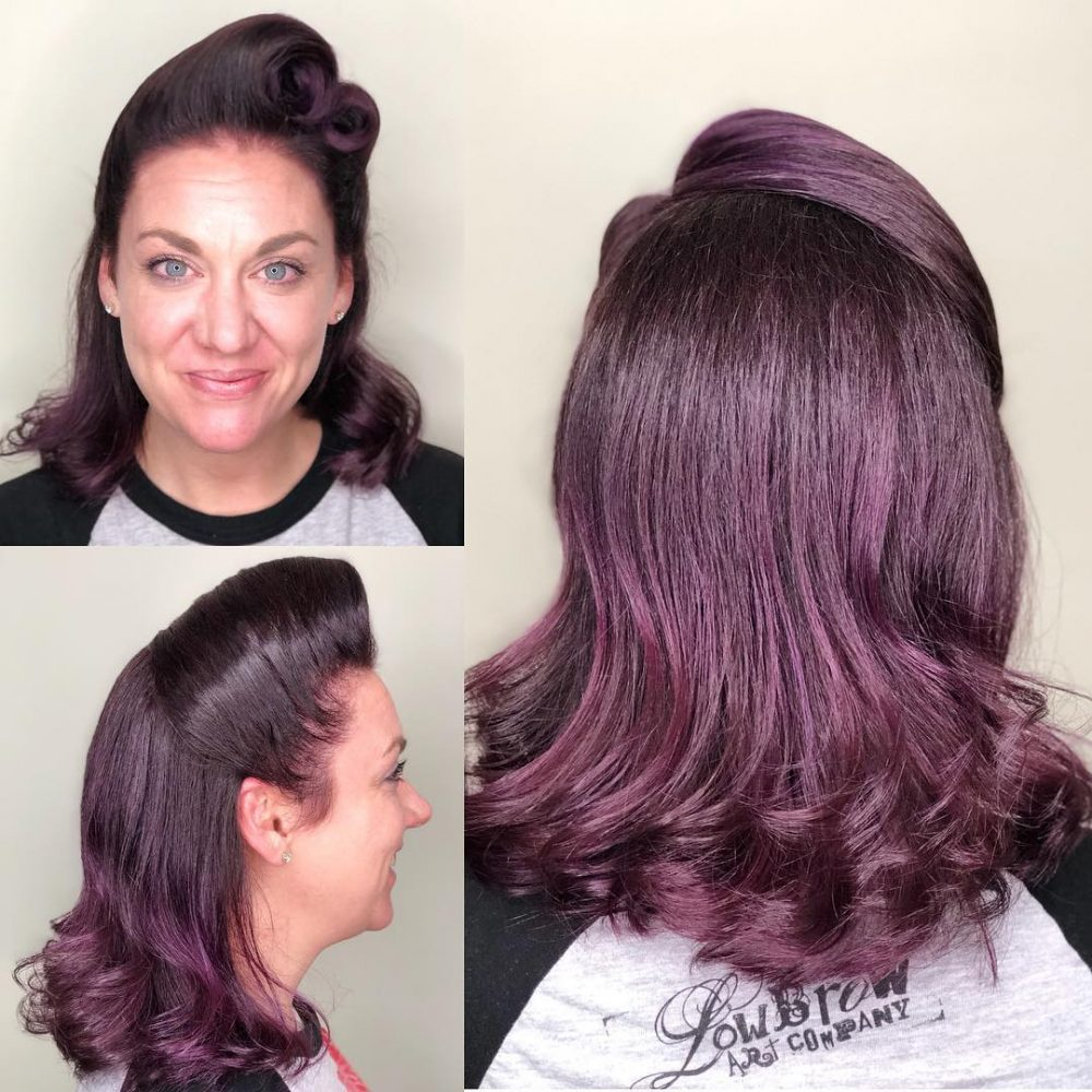 Short women Over 50 ans Haircuts trends 2020 violet curly long length 1