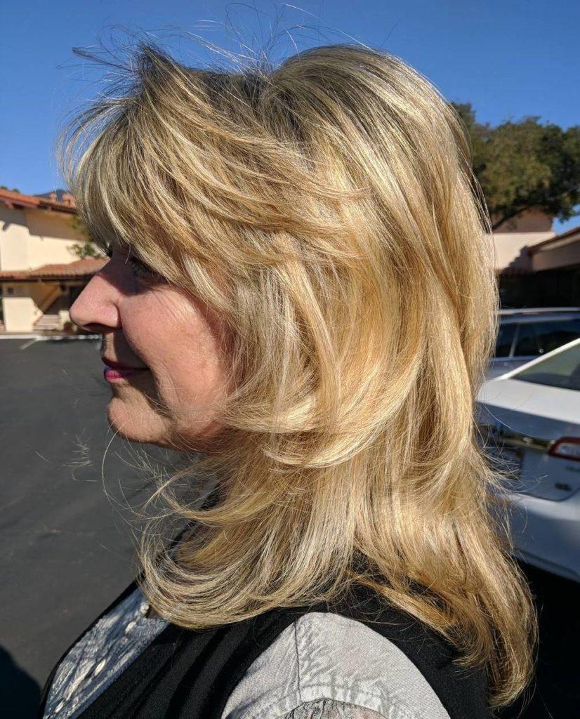 medium Hairstyle for women over 50 years trends 2020 Platinum Blonde Medium Layers