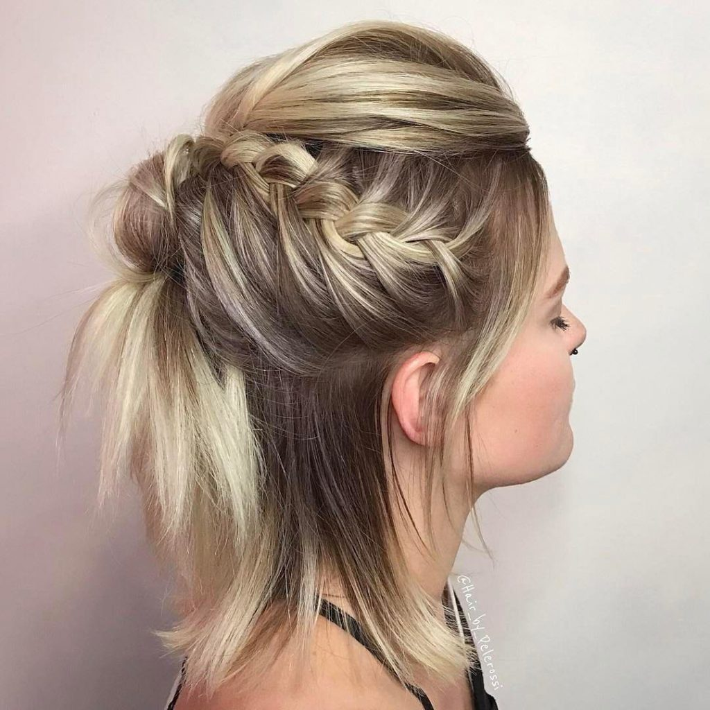 medium braided hairstyles trends 2020 dutch buns
