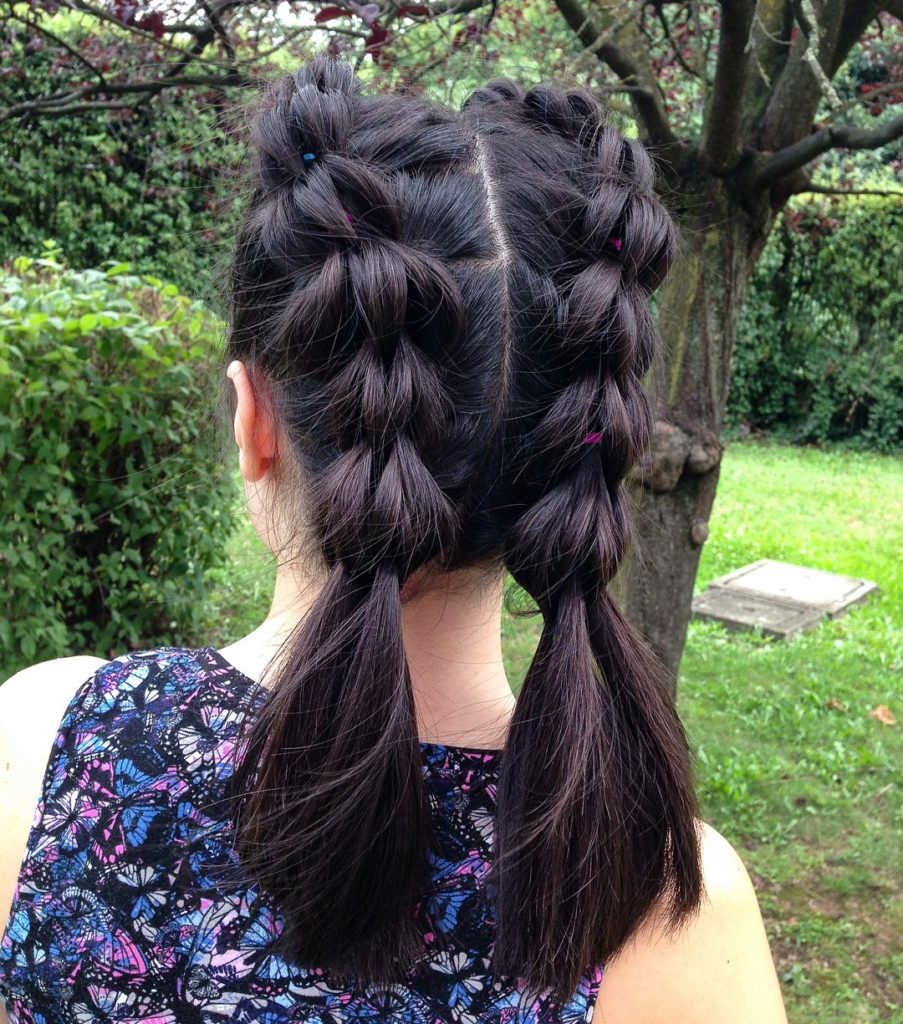 medium braided hairstyles trends 2020 two knot braids