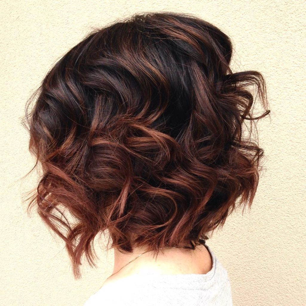 short Balayage Hairstyles trends 2020 curly brown highlights 1