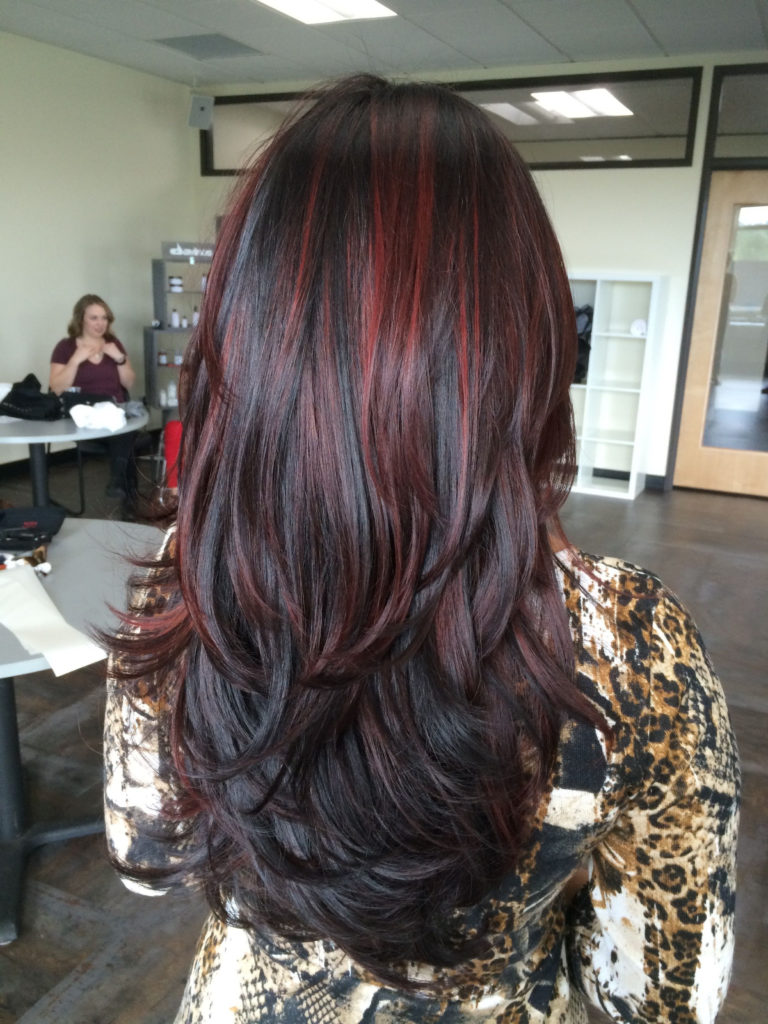 Long Highlights Hairstyles trends 2020 burgundy highlights 1