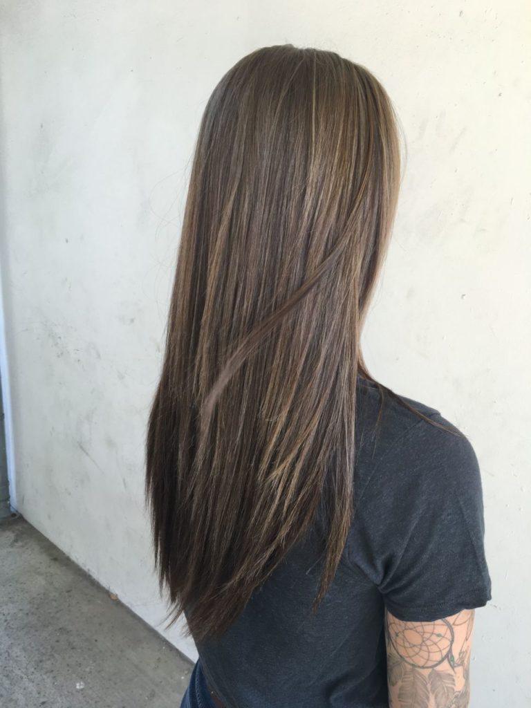 Long Highlights Hairstyles trends 2020 dark brown hue 1