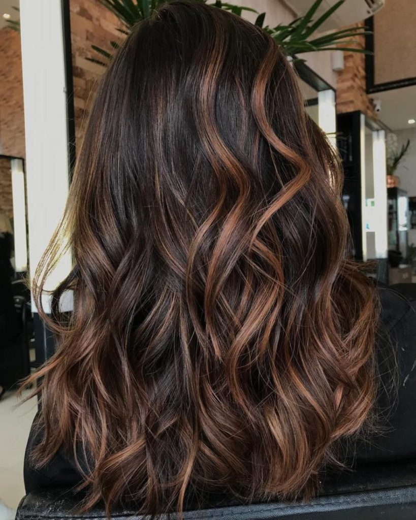 Long Highlights Hairstyles trends 2020 dark chestnut bown 1