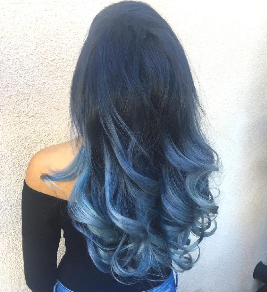 Long Ombre Hairstyles trends 2020 Deep Blue Ombré
