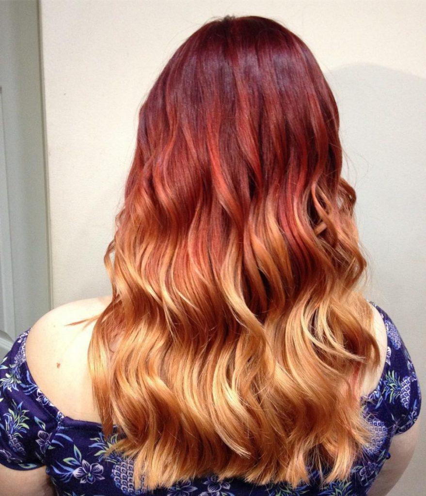 Long Ombre Hairstyles trends 2020 Red To blonde