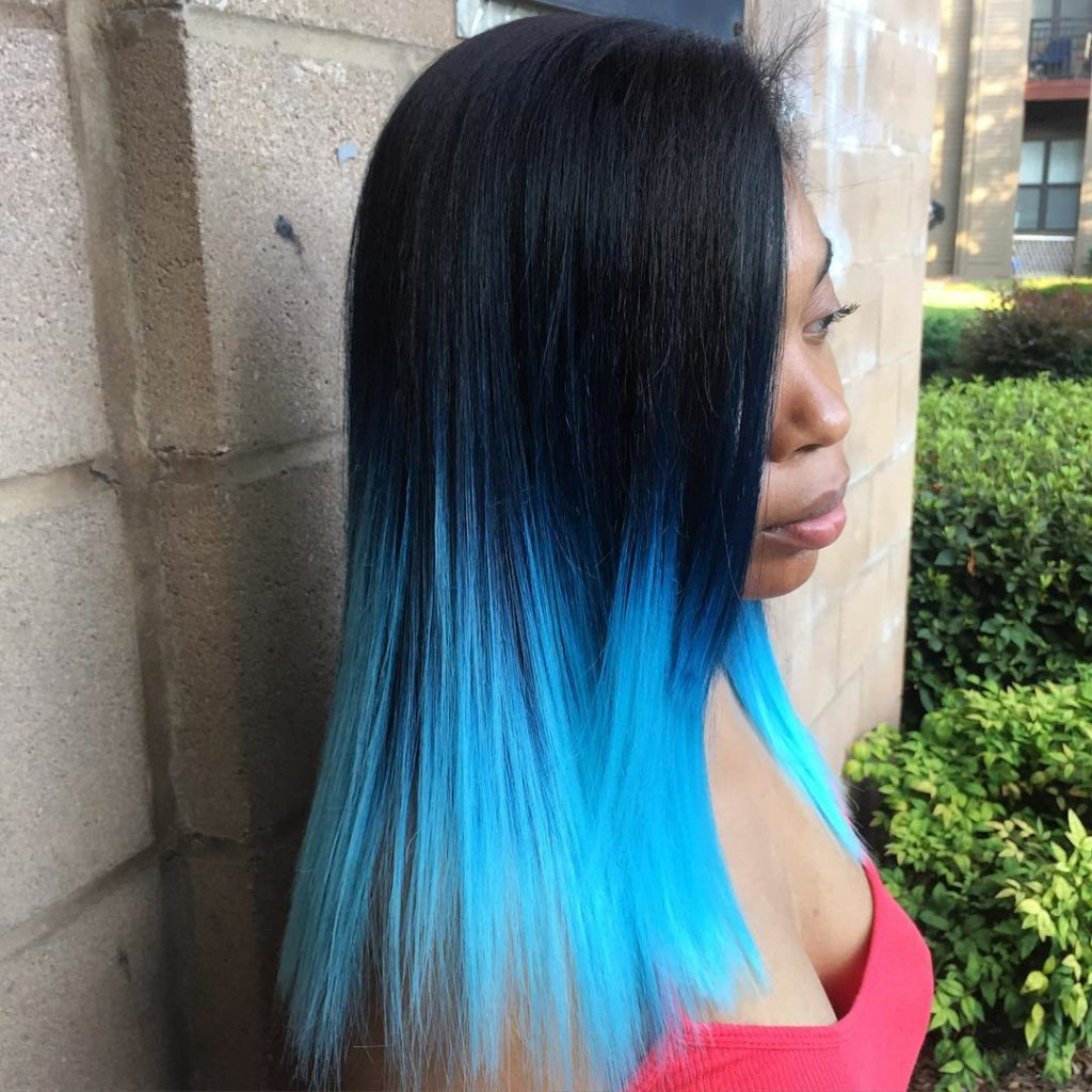 Long Ombre Hairstyles trends 2020 black blue color 1