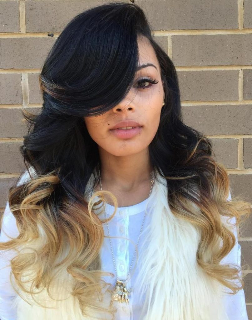 Long Ombre Hairstyles trends 2020 black to blonde 1