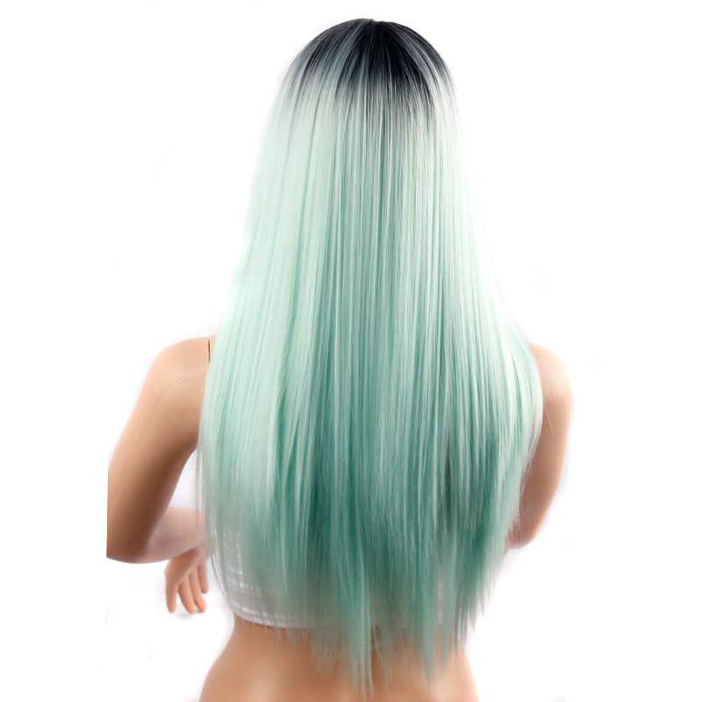 Long Ombre Hairstyles trends 2020 black to cyan ombré hair dye 1