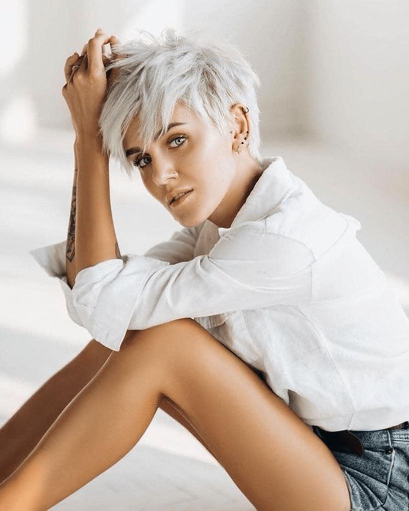 Long Pixie Haircuts trends 2020 Ash Blonde Pixie cut