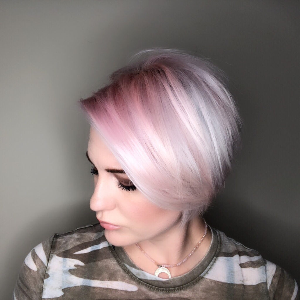 Long Pixie Haircuts trends 2020 Gray to pink highlights