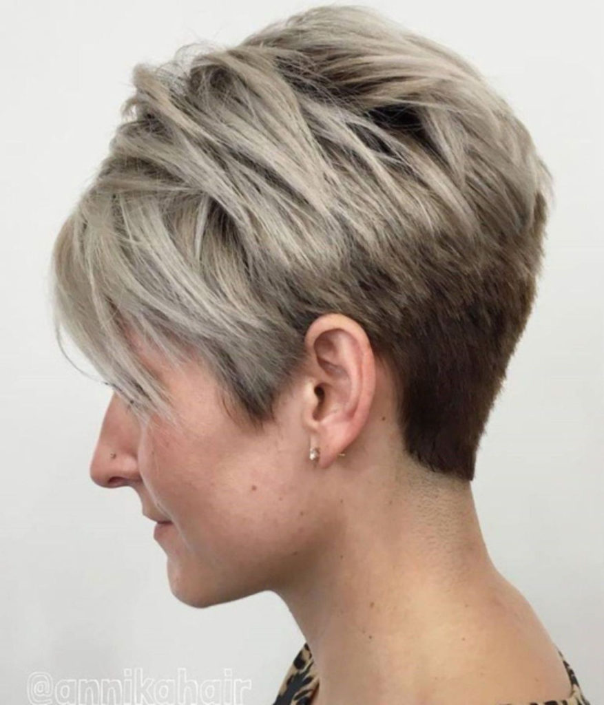 Long Pixie Haircuts trends 2020 Straight blowout Gray Coloring