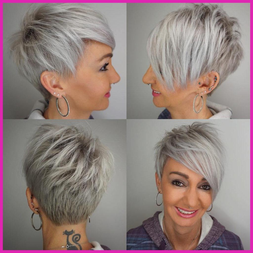Long Pixie Haircuts trends 2020 Straight gray