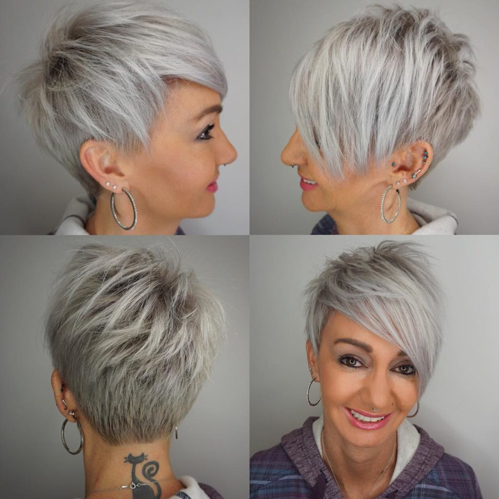 Long Pixie Haircuts trends 2020 ashy gray color