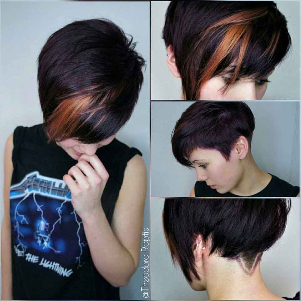 Long Pixie Haircuts trends 2020 dark brown highlights 1