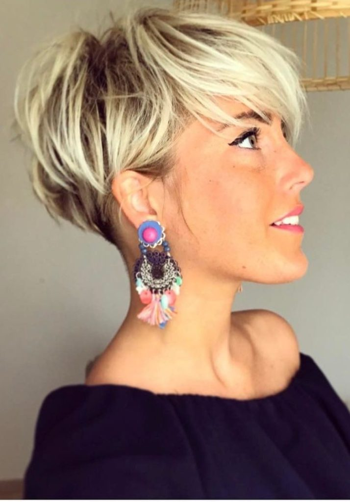 Long Pixie Haircuts trends 2020 platinum blonde color 1