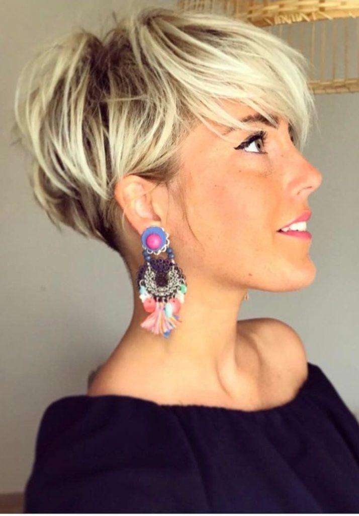 Long Pixie Haircuts trends 2020 platinum blonde color