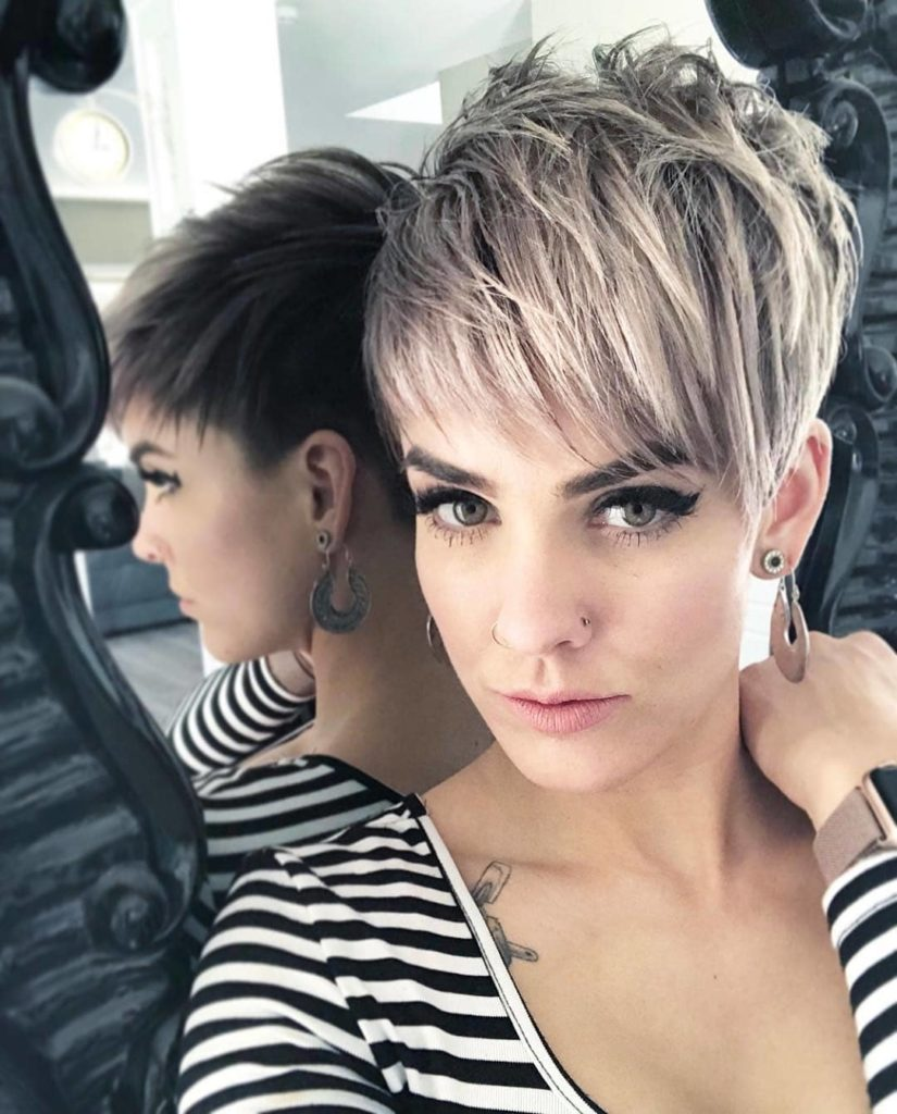 Long Pixie Haircuts trends 2020 silver smoke color