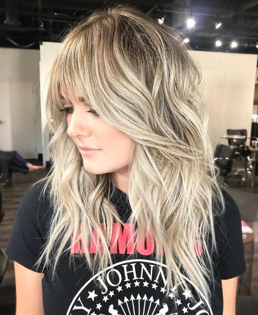 Long Shag Haircuts trends 2020 Ash blonde Choppy layers 2