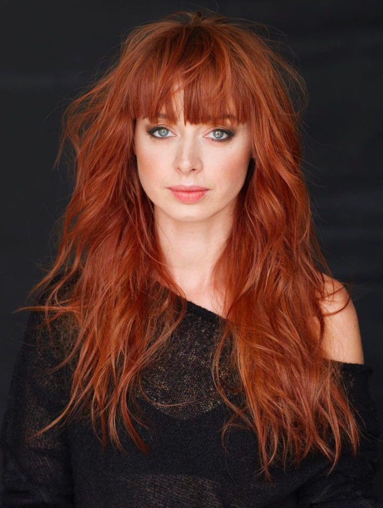 Long Shag Haircuts trends 2020 Red Choppy layers with bang