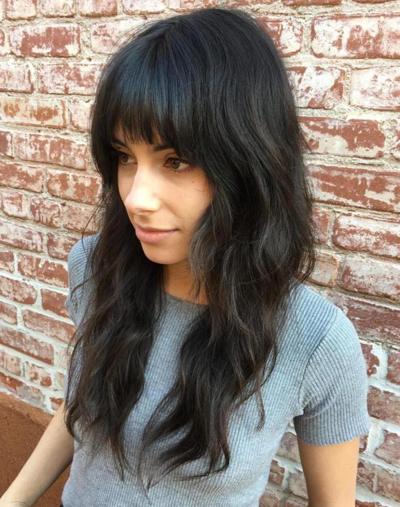 Long Shag Haircuts trends 2020 black hair color with bang