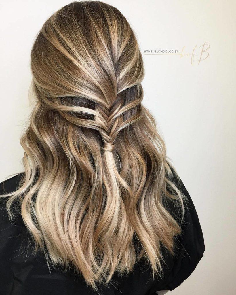 Medium Balayage Hairstyles trends 2020 diamond blonde braided haircut