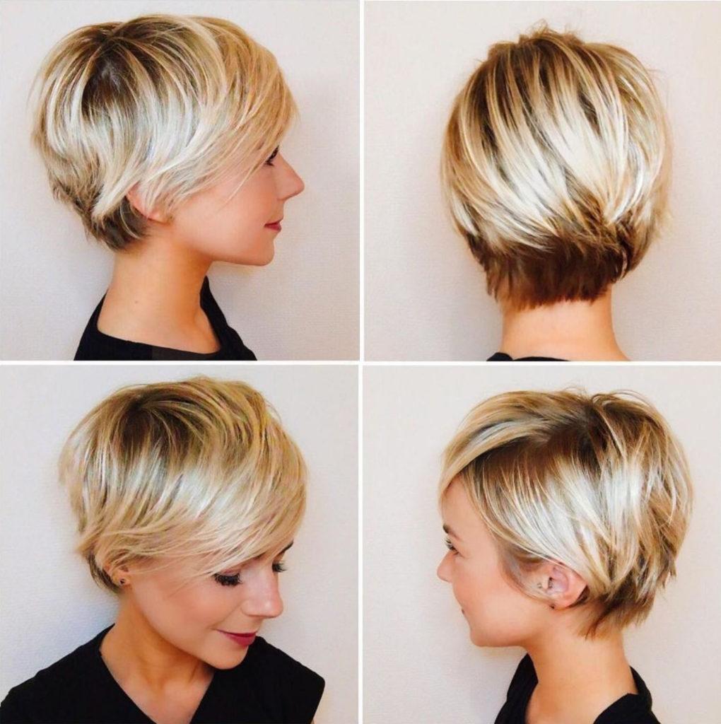 Medium Pixie Haircuts trends 2020 straight platinum blonde balayage 3