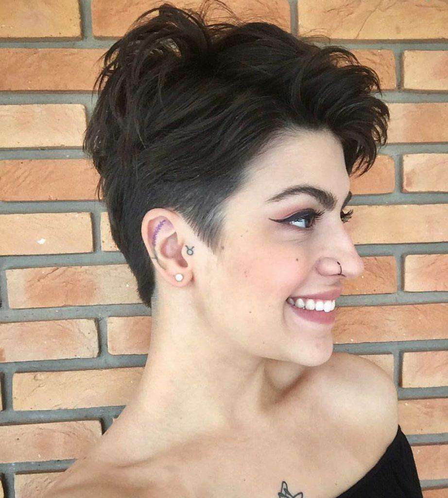 Medium Pixie Haircuts trends 2020 dark brown color pixie cut 3