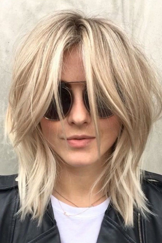 Medium Shag Haircuts trends 2020 Platinum blonde bangs haircut