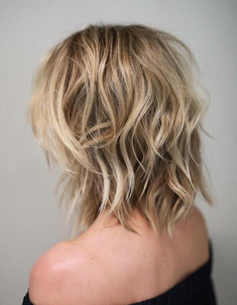 Medium Shag Haircuts trends 2020 messy wavy blonde haircut