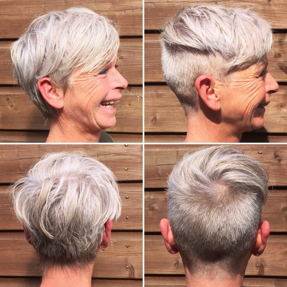 Short Highlights Hairstyles trends 2020 ash gray pixie cut