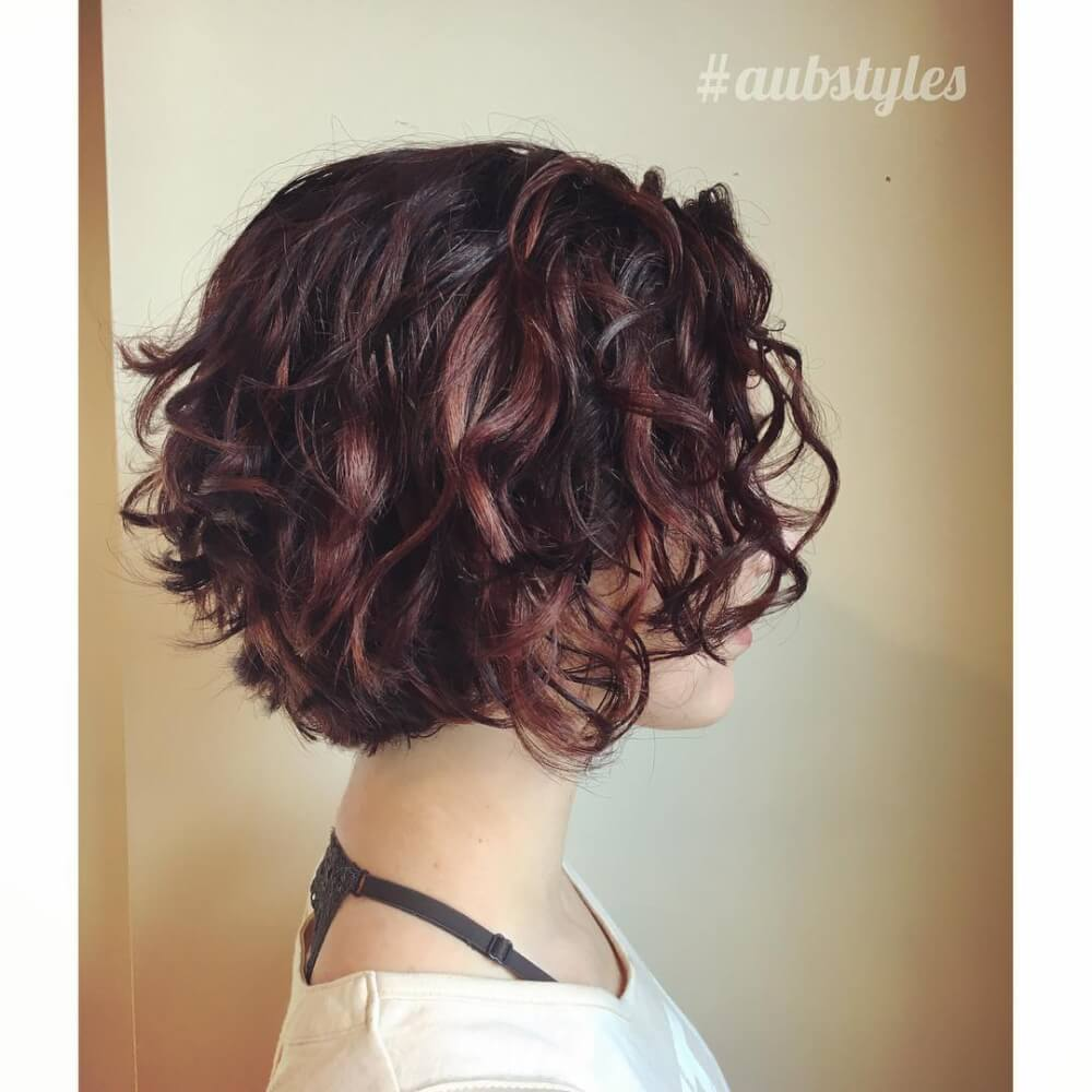 Short Highlights Hairstyles trends 2020 curly soft brown burgundy haircut color 1