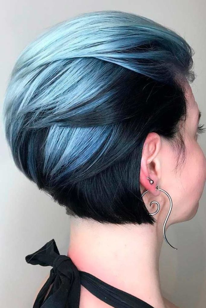 Short Ombre Hairstyles trends 2020 Blue To Black